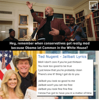 Memes, News, and Obama: CAFE  Hey, remember when conservatives got really mad  because Obama let Common in the White House?  Ted Nugent Jailbait Lyrics  Well I don't care if you're just thirteen  You look too good to be true  I just know that you're probably clean  There's one lil' thing l got do to you  Jailbait you look so good to me  Jailbait won't you set me free  Jailbait you look fine fine fine  I know I've got to have you in a matter of time Surely everyone on Fox News is screaming at Trump right now, right?