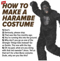 Bones, Dank, and Dude: CAFE  To AA  MAKE A  HARAMBE  COSTUME  1) Don't.  2) Seriously, please stop.  3) That was like five months ago.  4) You're running this into the ground.  5) Why don't you go as one of the  Stranger Things kids instead? Go  as Dustin. The one with the lisp.  6) Oh my god, what are you doing  with that red sweater? Jesus. Tell us  that isn't for a Ken Bone costume.  Dude, why are you like this? Someone had to fucking say it tbh