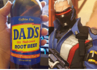 Caffeine Free  DADSR  0td gashioned  ROOT BEER  s Premium  12 FLOZB55 mL) Soldier 76 product placement Overwatch