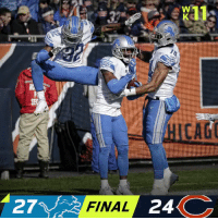 FINAL: @Lions hang on for the WIN! #OnePride   #DETvsCHI https://t.co/V6qvsY2Fsi: CAG  27  FINAL  24 FINAL: @Lions hang on for the WIN! #OnePride   #DETvsCHI https://t.co/V6qvsY2Fsi