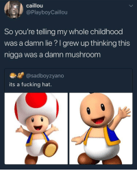 <p>Childhood ruined (via /r/BlackPeopleTwitter)</p>: caillou  @PlayboyCaillou  So you're telling my whole childhood  was a damn lie? I grew up thinking this  nigga was a damn mushroom  @sadboyzyano  its a fucking hat. <p>Childhood ruined (via /r/BlackPeopleTwitter)</p>