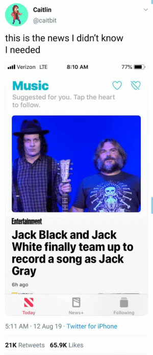 : Caitlin  @caitbit  this is the news I didn't know  I needed  l Verizon LTE  77%  8:10 AM  Music  Suggested for you. Tap the heart  to follow.  Entertainment  Jack Black and Jack  White finally team up to  record a song as Jack  Gray  6h ago  Following  Today  News+  5:11 AM 12 Aug 19 Twitter for iPhone  21K Retweets 65.9K Likes