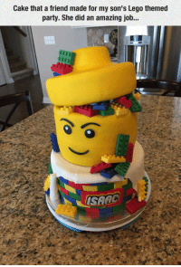 <p>Lego Cake Is Beyond Awesome.</p>: Cake that a friend made for my son's Lego themed  party. She did an amazing job.. <p>Lego Cake Is Beyond Awesome.</p>