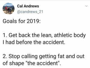 "Relatable.: Cal Andrews  @candrews_21  Goals for 2019:  1. Get back the lean, athletic body  I had before the accident.  2. Stop calling getting fat and out  of shape ""the accident"" Relatable."