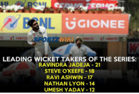 Memes, 🤖, and Lyon: CAL  GGIONEE  LEADING WICKET TAKERS OF THE SERIES:  RAVINDRA JADEJA 21  STEVE O'KEEFE 18  RAVI ASHWIN 17  NATHAN LYON 14  UMESH YADAV 12 Ravindra Jadeja is leading the chart with 21 wickets
