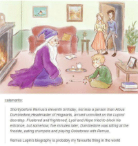 Aw 😍 ~Andromeda: calamarito.  Shortly before Remus s eleventh birthday, not less a person than Albus  Dumbledore, Headmaster of Hogwarts, arrived uninvited on the Lupins'  doorstep. Flustered and frightened, Lyall and Hope tried to block his  entrance, but somehow, five minutes later, Dumbledore was sitting at the  fireside, eating crumpets and playing Gobstones with Remus.  Remus Lupin's biography is probably my favourite thing in the world Aw 😍 ~Andromeda