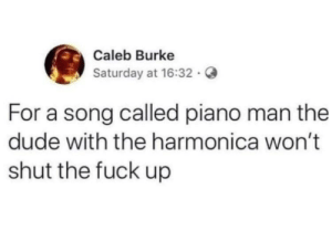 Harmonica man: Caleb Burke  Saturday at 16:32 .  For a song called piano man the  dude with the harmonica won't  shut the fuck up Harmonica man