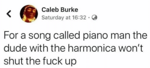 Dude With: Caleb Burke  Saturday at 16:32.  For a song called piano man the  dude with the harmonica won't  shut the fuck up