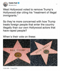 "🗣 @militarybadassery: Caleb Hull  @CalebJHull  West Hollywood voted to remove Trump's  Hollywood star citing his ""treatment of illegal  immigrants.""  Il  So they're more concerned with how Trump  treats foreign people that enter the country  llegally than our own Hollywood actors that  have raped people?  When's their vote on these:  BILL COSBY  10:22 AM 7 Aug 2018 🗣 @militarybadassery"