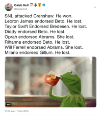 RIP: Caleb HullATo  @CalebJHull  SNL attacked Crenshaw. He won.  Lebron James endorsed Beto. He lost.  Taylor Swift Endorsed Bredesen. He lost.  Diddy endorsed Beto. He lost.  Oprah endorsed Abrams. She lost.  Rihanna endorsed Beto. He lost.  Will Ferrell endorsed Abrams. She lost.  Milano endorsed Gillum. He lost.  GIF  11:03 AM-7 Nov 2018 RIP