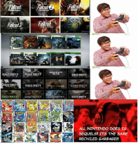 CALEDUTY  CALL DUT  CALL DUTY  CALL DUTY  CALL DUTY  CA  CALFDUTY  ALL NINTENDO DOES IS  SEQUELS! ITS THE SAME  RECYCLED GARBAGE!!! If you remove halo wars, the weird mobile call of duty and fallout 1. this is very accurate ~Isucc
