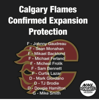 The Flames Expansion Protection has been confirmed... The top players available are: 1) Troy Brouwer 2) Hunter Shinkaruk 3) Emile Poirier 4) Lance Bouma 5) Matt Bartkowski Who will be taken? Flames Expansion Vegas GoldenKnights Calgary NHLDiscussion: Calgary Flames  confirmed Expansion  Protection  F- Johnny Gaudreau  F Sean Monahan  F Mikael Backlund  F Michael Ferland  F Micheal Frolik  F Sam Bennett  F Curtis Lazar  D Mark Giordano  D TJ Brodie  Dougie Hamilton  DISCUSSION  G Mike Smith  @NHLDISCUSSION The Flames Expansion Protection has been confirmed... The top players available are: 1) Troy Brouwer 2) Hunter Shinkaruk 3) Emile Poirier 4) Lance Bouma 5) Matt Bartkowski Who will be taken? Flames Expansion Vegas GoldenKnights Calgary NHLDiscussion