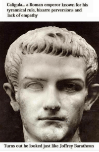 Well this is awkward..: Caligula... a Roman emperor known for his  tyrannical rule, bizarre perversions and  lack of empathy  Turns out he looked just like Joffrey Baratheon Well this is awkward..