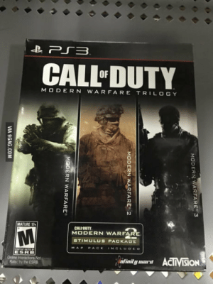 Why not just make a remastered version of this for the new consoles?: CALL DUTY  MO DERN WARFARE TRILOGY  MATURE 17  CALI-DUTY  MODERN WARFA  STIMULUS PACKAGE  MAPPACK INDLUDED  ESRB  Onine Interactons Not  Bated by the ESRB Why not just make a remastered version of this for the new consoles?
