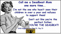 Why are the custodial parents blamed for the wrong doings of a deadbeat parent? The deadbeat chooses to not co-parent, refuses to not help support their OWN children. It is their choice to be a deadbeat. What type of person abandons their OWN child yet will support someone else's? A deadbeat parent!: Call me a Deadbeat Mom  one more time...  I'm not the one who hasn't seen their  children in over a year and refuses  to support them!  Don't act like you're the  perfect father,  YOU'RE THE DEADBEAT!  Child Support you owe It, Pay It Why are the custodial parents blamed for the wrong doings of a deadbeat parent? The deadbeat chooses to not co-parent, refuses to not help support their OWN children. It is their choice to be a deadbeat. What type of person abandons their OWN child yet will support someone else's? A deadbeat parent!
