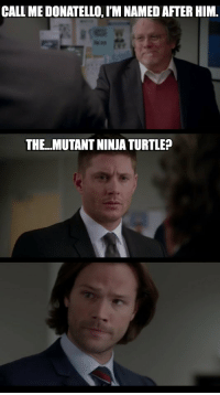 Oh, Dean 😂: CALL ME DONATELLO, IM NAMED AFTER HIM.  THE.. MUTANT NINJA TURTLE? Oh, Dean 😂