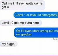 Memes, My Nigga, and 🤖: Call me in 5 say I gotta come  get u  Level 1 or level 10 emergency?  Level 10 get me outta here  Ok I'll even start crying put me  on speaker  Deliv  My nigga Real bromigos