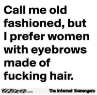 Fucking, Memes, and Hair: Call me old  fashioned, but  I prefer women  with eyebrowS  made of  fucking hair.  The intemet Scavengers <p>Silly memes and pictures  Our Tuesday edition of fun  PMSLweb </p>