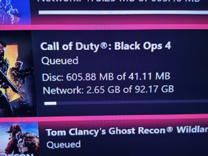 Black, Call of Duty, and Ghost: Call of Duty®: Black Ops 4  Queued  Disc: 605.88 MB of 41.11 MB  Network: 2.65 GB of 92.17 GB  Tom C  lancy's Ghost Recon Wildlan  Queued CoD can't decide its disc size