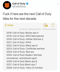 Memes, Black, and Call of Duty: Call of Duty  @Callof Duty  Fuck it here are the next Call of Duty  titles for the next decade.  1  Notes  10 March 2018 at 20:15 IG:PolarSaurusRex  2018: Call of Duty: Blacks ops 4  2019: Call of Duty: MW2 Remastered  2020: Call of Duty: Infinite Warfare 2  2021: Call of Duty: WW3  2022: Call of Duty: Black ops 5  2023: Call of Duty: Conflicted warfare  2024: Call of Duty: Red ops  2025: Call of Duty Modern Warfare  remastered, remastered again  2026: Call of Duty Black ops 6  2027: Call of Duty Black ops 7  2028: Call of Duty: Tears of Combat When they remaster old games for the 10 year anniversary of them, what happens when the remastered game turns 10? callofduty