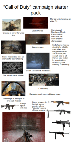 """""""Call of Duty"""" Campaign Starter Pack: """"Call of Duty"""" campaign starter  pack  Play as white American or  white Brit  Stereotypical  Russian or Middle  Death Quotes  Crawling in cover the whole  Eastern villain  time  who hates the  west for some  cliche reason  End of game has you  about to be killed by  Grenade spam  main villain when  they get distracted  and it allows you  enough time to kill  them in slow motion  Sniper mission that lines up  enemies for easy shooting  by shooting them  with handgun or  mashing xrepeatedly  Stealth Mission with mindless AI  The on-rails turret mission  Controversy  Campaign levels copy multiplayer maps  Possible jet or helicopter or  even tank mission  Enemy weapons (In  futuristic games,  enemies will use  """"futuristic"""" versions  of these weapons)  Always  spawn  with this.  You sre Rttict to Cover! """"Call of Duty"""" Campaign Starter Pack"""