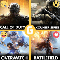Which one do you prefer?: CALL OF DUTY  COUNTER STRIKE  OVERWATCH BATTLEFIELD Which one do you prefer?