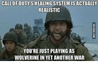 SpiderMan, Wolverine, and Arrow: CALL OF DUTY S HEALING  SYSTEM ISACTUALLY  REALISTIC  YOU'RE JUST PLAYING AS  WOLVERINE IN YETANOTHER WAR Tag your friends!😂🔥 Follow @comic.book.memes for more🍻 - - - justiceleague superman captainamerica batman wonderwoman arrow theflash gotham spiderman batmanvsuperman comicbookmemes justiceleaguememes avengers avengersmemes deadpool dccomics dcmemes dccomicsmemes marvel marvelcomics marvelmemes starwars doctorstrange captainamericacivilwar doctorstrange