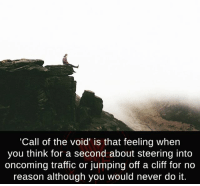 Creepy, Love, and Makeup: 'Call of the void' is that feeling when  you think for a second about steering into  oncoming traffic or jumping off a cliff for no  reason although you would never do it. Follow @the.paranormal.guide for more! ________________________________ . . . . HASHTAGS BELOW IGNORE . . . . . . _________________________________ scary creepy gore horrormovie blood horrorfan love horrorjunkie ahs twd horror supernatural horroraddict makeup murder spooky terror creepypasta evil metal bloody follow paranormal ghost haunted me serialkiller like4like deepweb