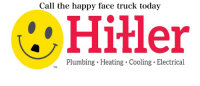 happy face: Call the happy face truck today  Hitler  Plumbing.Heating. Cooling. Electrical  TM