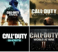 Which would you rather have next?: CALLEDUTY  CALL DUTY  A BEY o N D  E A R T H  CIALLDUTY  GALL DUTY  GHOSTS  WORLD AT WAR Which would you rather have next?