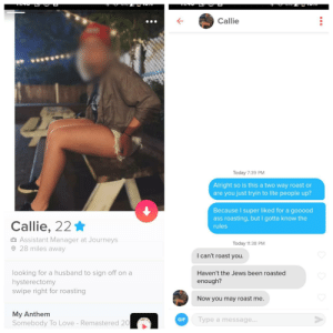 I'll never ask again: Callie  Today 7:39 PM  Alright so is this a two way roast or  are you just tryin to lite people up?  Because I super liked for a gooood  ass roasting, but I gotta know the  Callie, 22 *  rules  O Assistant Manager at Journeys  O 28 miles away  Today 11:38 PM  I can't roast you.  looking for a husband to sign off on a  hysterectomy  swipe right for roasting  Haven't the Jews been roasted  enough?  Now you may roast me.  My Anthem  Somebody To Love - Remastered 20  Type a message...  GIF I'll never ask again