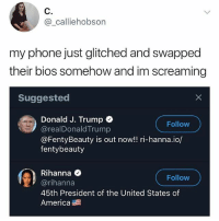 America, Memes, and Phone: @_calliehobson  my phone just glitched and swapped  their bios somehow and im screaming  Suggested  Donald J. Trump  @realDonaldTrump  @FentyBeauty is out now!! ri-hanna.io/  fentybeauty  Follow  Rihanna <  @rihanna  45th President of the United States of  America  Follow 😂Wow