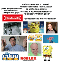 """Dank Memes Vine: calls someone a """"weeb'""""  when someone loves japan  jokes about depression  or watches anime  """"IS THIS A JOJO REFERENCE?!""""  *doesn't watch jojo*  and SuiCIdness  """"traps are gay""""  Nintendo  *pretends he visits 4chan*  SUBSCRIBE  NOW!  DANK  MEMES  VINE  COMPILATION  ines Link  In Description  1:57 20-63 AM 04/20/38  LIL PUMP GUCCI GANG  亢  大  ●脈  71  CLUB  PENGUIN R BLaX  Powering Imagination"""""""