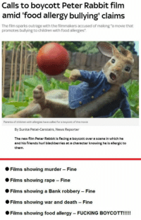 "Children, Food, and Friends: Calls to boycott Peter Rabbit film  amid food allergy bullying claims  The film sparks outrage with the filmmakers accused of making ""a movie that  promotes bullying to children with food allergies  0  Parents of children with allergies have called for a boycott of the movie  By Sunita Patel-Carstairs, News Reporter  The new film Peter Rabbit is facing a boycott over a scene in which he  and his friends hurl blackberries at a character knowing he is allergic to  them.  ● Films showing murder-Fine  Films showing rape Fine  Films showing a Bank robbery-Fine  Films showing war and death-Fine  Films showing food allergy-FUCKING BOYCOTT!!!! <p><a href=""http://awesomacious.tumblr.com/post/171025788282/2018-gon-be-good"" class=""tumblr_blog"">awesomacious</a>:</p>  <blockquote><p>2018 gon be good</p></blockquote>"