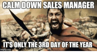 CALM DOWN SALES MANAGER  ITS ONLY THE3RDDAYOFTHE YEAR  img flip com Please chill out sir.