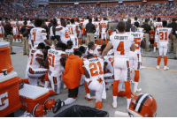 REPORT: The Browns were kneeling during the National Anthem to protest years of abuse from other NFL teams. https://t.co/xh12M4fPAG: CALOWELL  COLQUITT  12  TAYLOR  BRO  NWNS REPORT: The Browns were kneeling during the National Anthem to protest years of abuse from other NFL teams. https://t.co/xh12M4fPAG
