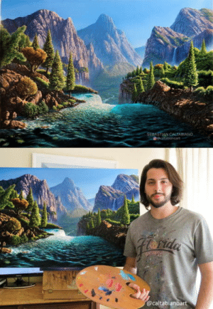 World, Fictional, and The World: @caltabianoart I painted this fictional landscape with oils. Its inspired by some landscapes around the world.