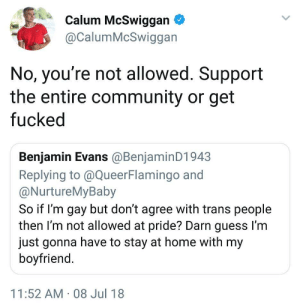 Community, Guess, and Home: Calum McSwiggan  @CalumMcSwiggan  No, you're not allowed. Support  the entire community or get  fucked  Benjamin Evans @BenjaminD1943  Replying to @QueerFlamingo and  @NurtureMyBaby  So if I'm gay but don't agree with trans people  then I'm not allowed at pride? Darn guess I'm  just gonna have to stay at home with my  boyfriend  11:52 AM-08 Jul 18