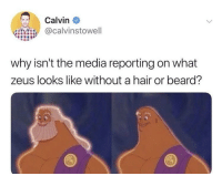 Beard, Hair, and Zeus: Calvin  @calvinstowell  why isn't the media reporting on what  zeus looks like without a hair or beard?