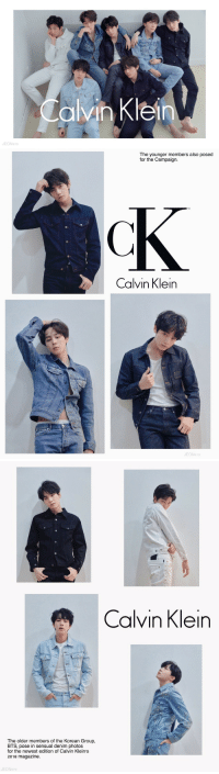 Calvin Klein, Tumblr, and Blog: Calvin Klein  JEON970   The younger members also posed  for the Campaign.  TM  Calvin Klein  N970   Calvin Klein  The older members of the Korean Group,  BTS, pose in sensual denim photos  for the newest edition of Calvin Klein's  2018 magazine.  JEON970 jeonsjibooty:calvin klein models are shaking ctto©️