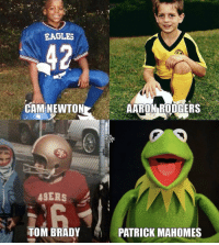 NFL stars when they were kids... https://t.co/PvbalHkmxc: CAM NEWTON  AARON RODGERS  NF  UY  ASERS  TOM BRADY  PATRICK MAHOMES NFL stars when they were kids... https://t.co/PvbalHkmxc