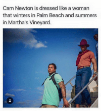 M. Musing Memes: Cam Newton is dressed like a woman  that winters in Palm Beach and summers  in Martha's Vineyard. M. Musing Memes