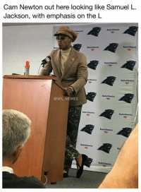 Cam Newton, Memes, and Nfl: Cam Newton out here looking like Samuel L  Jackson, with emphasis on the L  @NFL MEMES