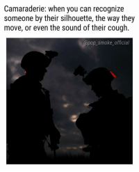 Memes, Pop, and Silhouette: Camaraderie: when you can recognize  someone by their silhouette, the way they  move, or even the sound of their cough.  @pop_smoke_official Especially in bootcamp when everyone was bald 😂