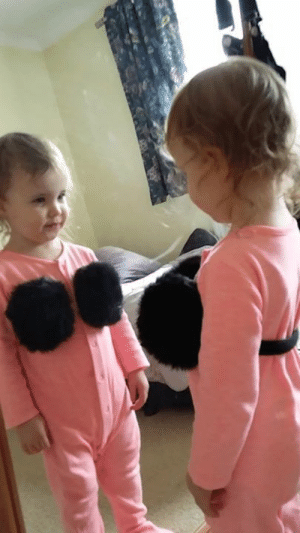 """Came home to my daughter posing in the mirror with my ear muff and I don't know how to feel..."" 😂😂: ""Came home to my daughter posing in the mirror with my ear muff and I don't know how to feel..."" 😂😂"