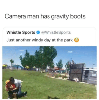 Imagine being in one of those porta potties lol 😂✌🏼: Camera man has gravity boots  Whistle Sports@WhistleSports  Just another windy day at the park Imagine being in one of those porta potties lol 😂✌🏼