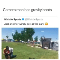Is this what it's like to live in Oklahoma?: Camera man has gravity boots  Whistle Sports@WhistleSports  Just another windy day at the park Is this what it's like to live in Oklahoma?