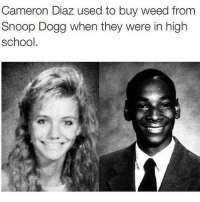 Memes, School, and Snoop: Cameron Diaz used to buy weed from  Snoop Dogg when they were in high  school. @weedstagram420 CnC
