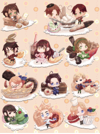 camigani: Noooes. This was supposed to be for National Dessert Day, but school and failed crème brûlées took up my day… orz I intentionally drew them all to be sloppy, but some details are better seen in full view if you can. ;v; Now with England: ✿ : camigani: Noooes. This was supposed to be for National Dessert Day, but school and failed crème brûlées took up my day… orz I intentionally drew them all to be sloppy, but some details are better seen in full view if you can. ;v; Now with England: ✿