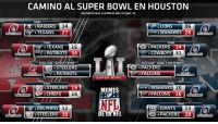El mapa de los playoffs rumbo a los campeonatos de conferencia. Like si tu equipo sigue vivo.: CAMINO AL SUPER BOWL EN HOUSTON  HORARIOS ENEL CENTRO DE MEXICO (GMT -6)  FINAL  NA  14  LIONS 06  a SEAHAWKS 26  4 TEXANS  27  FINAL  M 4 TEXANS  16  G PACKERS  34  1 PATRIOTS 34  COWBOYS  31  1740 AZTECA ESPN  22101 40s CANALs. FoxSPORTS  TER 3 STEELERS  G4 PACKERS  PATRIOTS  2 FALCONS  SUPER BOWL  FINAL  TE STEELERS 18  20  MEMES  ALCON  36  2 CHIEF  16  NFL  FINAL  FINAL  GIANTS  13  6 DOLPHINS 12  DE LA NFL  3 STEELERS 30  PACKERS 38  WILDCAR El mapa de los playoffs rumbo a los campeonatos de conferencia. Like si tu equipo sigue vivo.